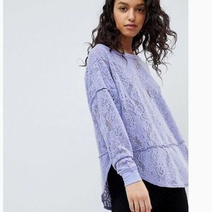 Free People Crochet Soft Lace Long Sleeve Top XS